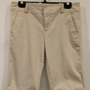 OLD NAVY Stretch Beige Cuffed Crop Walking Shorts